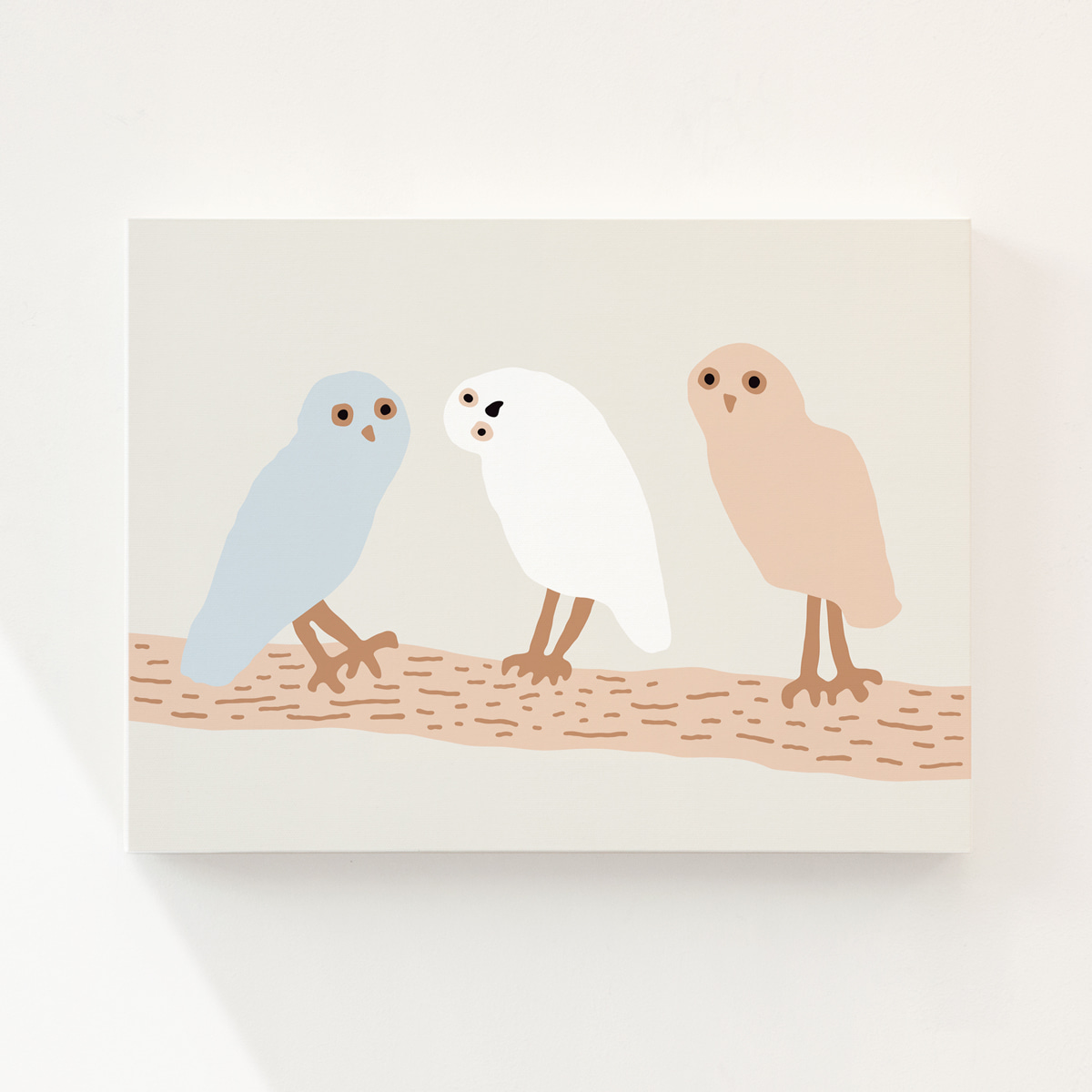 HELLO OWLS - LIGHT GREY CANVAS